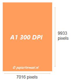 A1 formaat 300 dpi pixels