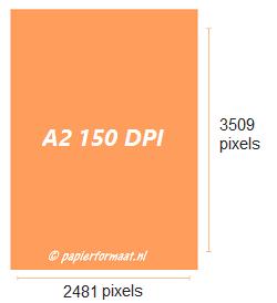 A2 formaat 150 dpi pixels