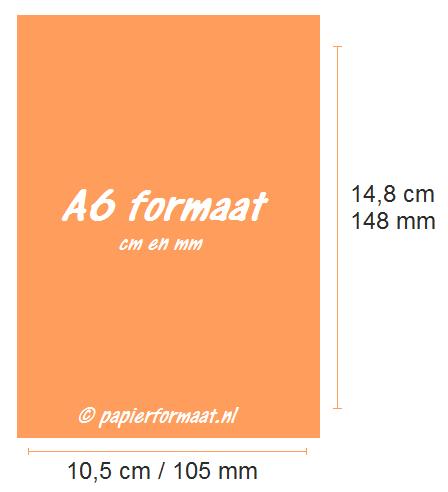 A6 formaat cm en mm
