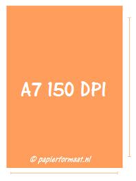 A7 formaat 150 DPI/ PPI: 438 x 620 pixels