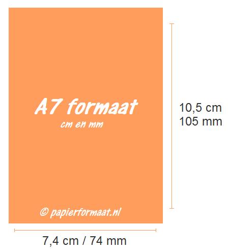 A7 formaat cm en mm